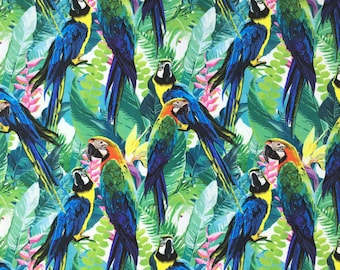 Parrot printed jersey, parrot print fabric, tropical printed jersey, 95 cotton 5 elastane, stretch fabrics, fabrics for clothes