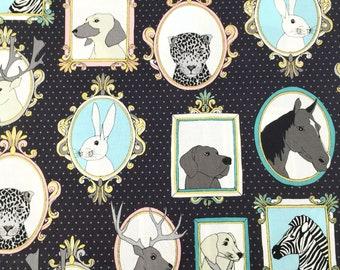 Michael Miller little portraits animal fabric - grey animal fabric by the metre - animal nursery decor fabric