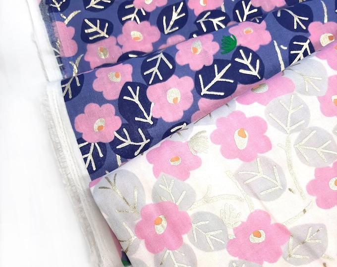 Featured listing image: Rico dressmaking fabric Purple, Retro floral double gauze fabric, Rico modern daisy print cotton fabric
