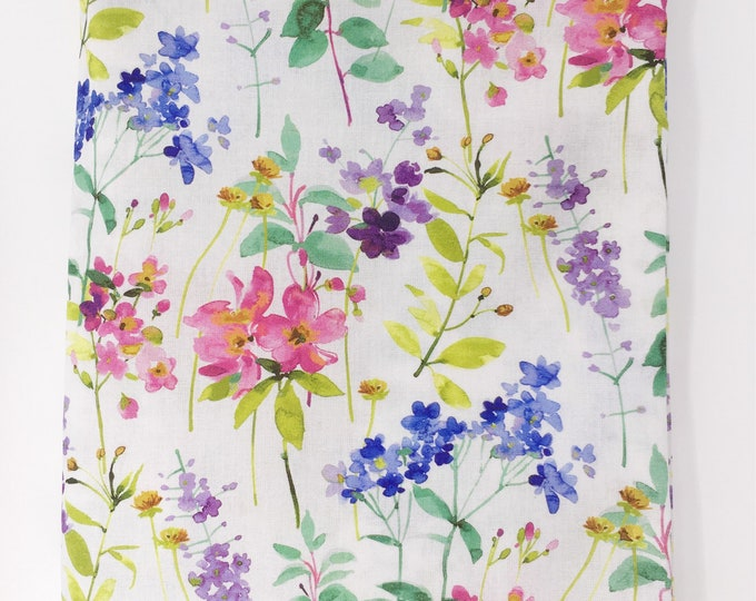 Painted floral fabric  I  Watercolour print fabric  I  Floral cotton fabric