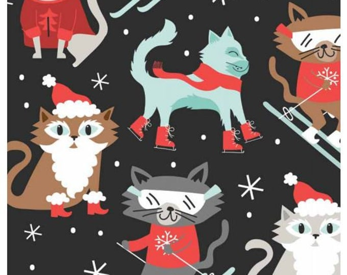 Blend Christmas black cat fabric  -  Blend snowlandia printed cotton  -  Christmas cat cotton  - Christmas fabric by the metre
