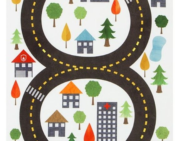 Robert Kaufman Kids Printed Fabric Panel - Let's Go Town Car Panel - DIY Playmat for Cars