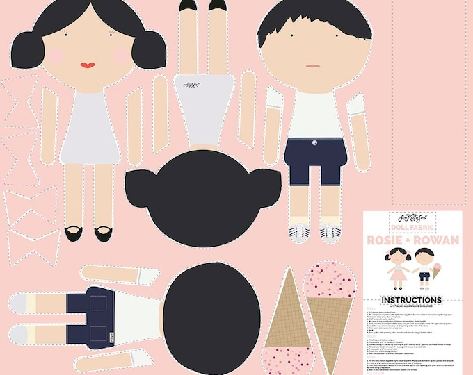 Riley Blake doll making panel - DIY Doll making panel -  Rosie and Rowan doll making kit - Cut and sew doll fabric