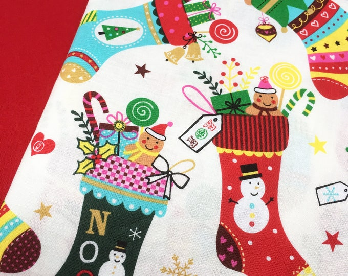 Christmas print cotton, Holiday stocking fabric, Christmas stocking printed fabric