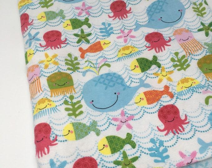Riley Blake fabric, sea creature fabric, cotton fleece, ocean fabric, fabric by the yard, Brushed cotton sea fabric