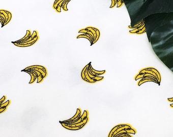 Banana print jersey knit - Banana fabric - tropical fabric - printed cotton spandex - printed cotton elastane - unisex fabric by the metre