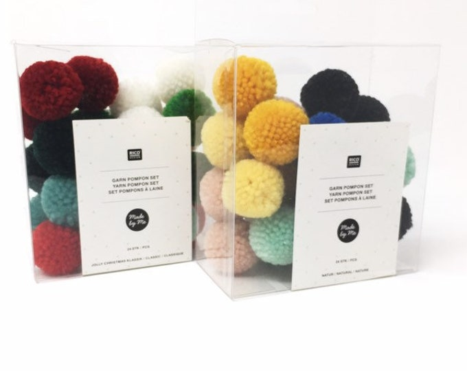 Craft Pom Poms 24 Piece - Rico Design Pompoms - Decorative Pompons