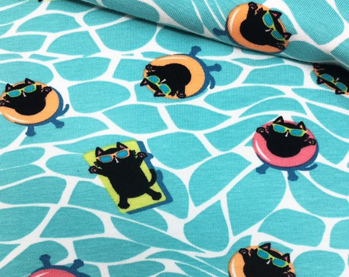Cat print fabric - Cat fabric, Cat jersey - Cats in sunglasses -Fabric by the metre - Cotton spandex -Knitted jersey - Unisex fabric.