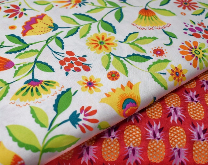 FREE SHIPPING FABRIC, michael miller fabric ,folk floral,printed cotton, DC6864, Bright fabric, floral print, michael miller cotton
