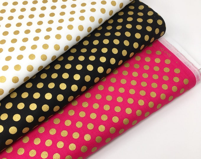ROBERT KAUFMAN FABRIC, gold spot fabric, gold spot cotton, Metallic gold spot on fabric, in three colourways
