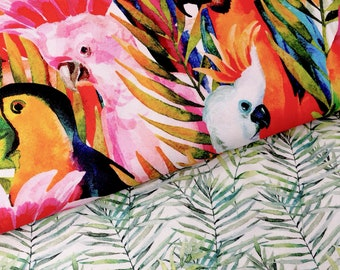 Heavy weight cotton, parrot upholstery fabric, parrot print, cotton fabric, home decor fabric, upholstery fabric by the metre