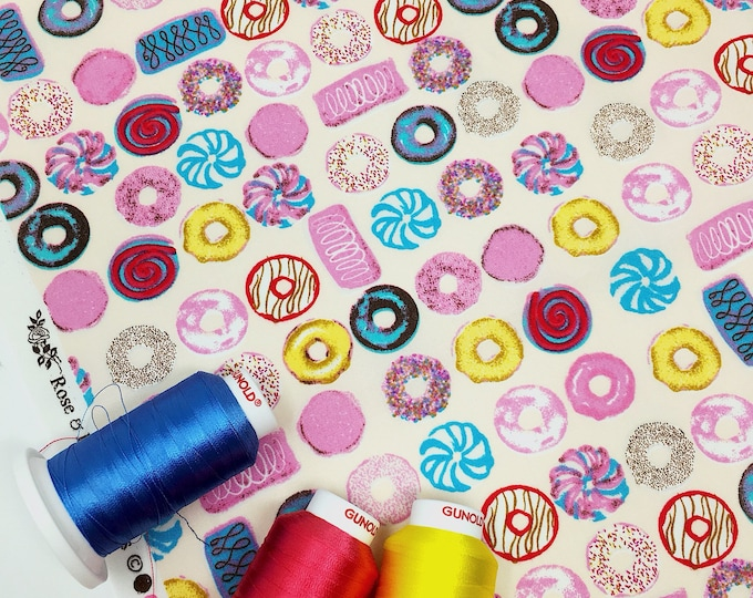 Donut print cotton - Rose and Hubble donut print cotton poplin  - 100% woven cotton by the metre  - Childrens fabric