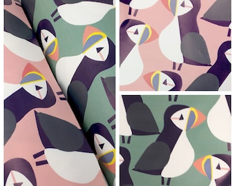 Puffin waterproof fabric for raincoats - Waterproof childrens coat fabric - Water resistant puddlesuit fabric by the metre