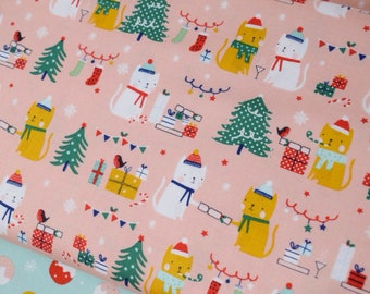 Christmas cat fabric - Dashwood festive friends fabric by the metre - cat printed cotton fabric