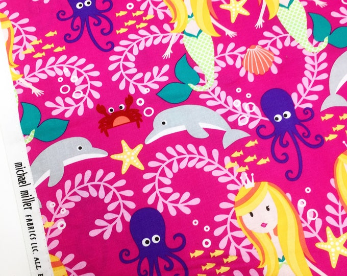 Pink fabric, Michael Miller siren sisters, mermaid print cotton, mermaid fabric, siren sister,  under the sea, printed cotton