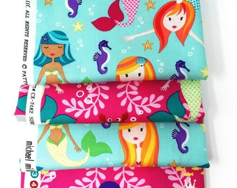 Mermaid printed cotton fabric fat quarter bundle -  Michael Miller quilting fabric