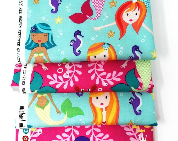 Mermaid printed cotton fabric fat quarter bundle -  Michael Miller quilting fabric