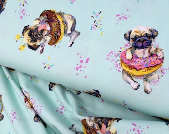 Pug digital print cotton jersey knit fabric - Pug lover donut printed cotton fabric for leggings - Dog print stretch cotton elastane fabric