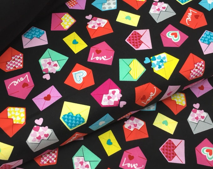 Vintage loveheart cotton fabric  - Kitsch heart print fabric  -   Love letters printed cotton by the metre