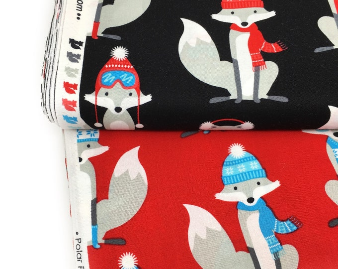 Fox Quilting Fabric - Robert Kaufman Fabric - Polar Pals Printed Fox Cotton Fabric - Fabric by the Metre