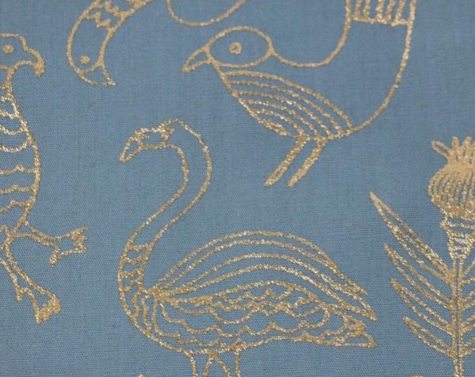 Rico design gold foil bird printed cotton -  Gold bird floral fabric by the metre - Flamingo print fabric