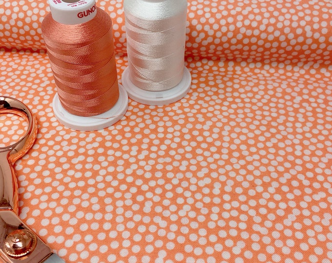 Coral polka dot printed cotton by the metre -  Spot quilting cotton fabric - Robert Kaufman quilt fabrics