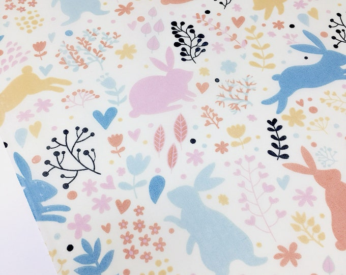Woodland forest fabric -  Rabbit printed cotton fabric - Spring Easter fabric