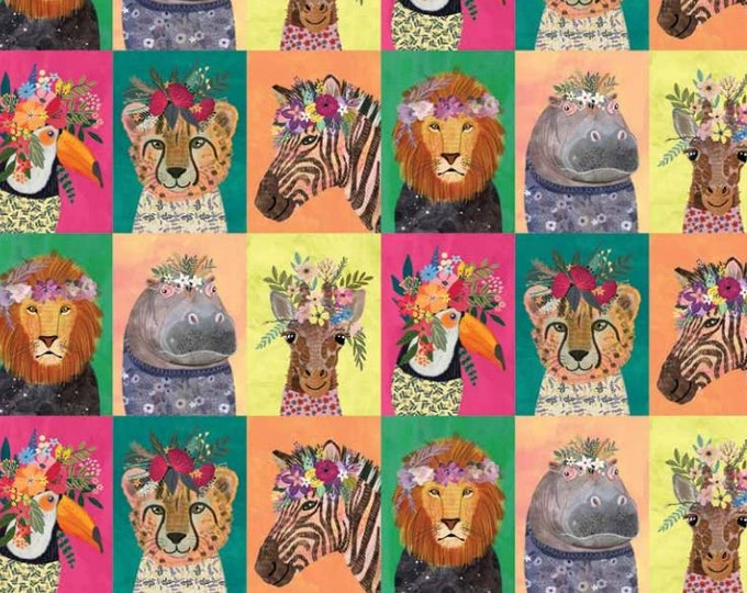 NEW Wildflowers painted jungle animal printed cotton fabric - Blend junglemania cheater quilt panel - Animal print quilt fabric by the metre