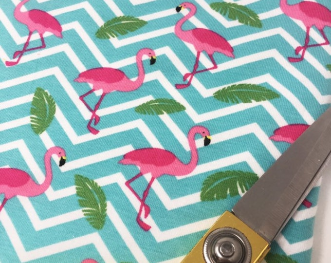 Flamingo Stretch Knit Fabric - Flamingo Jersey Fabric - Tropical Bird Cotton Elastane Knit