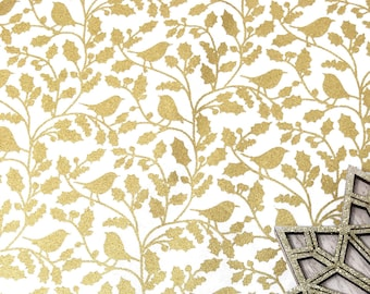 Gold foil christmas printed cotton - Christmas bird print 100% cotton -  Metallic gold foil cotton fabric - Holiday fabric