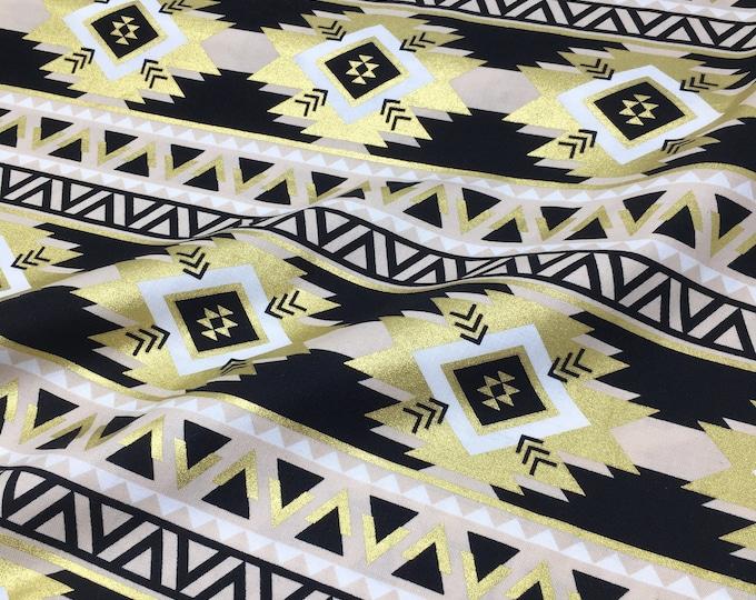 Studio Jepson Luxe Metallic gold foil printed cotton - Aztec metallic gold fabric