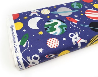Blend space printed cotton by the metre - Blue quilting cotton fabric - space children's decor fabric