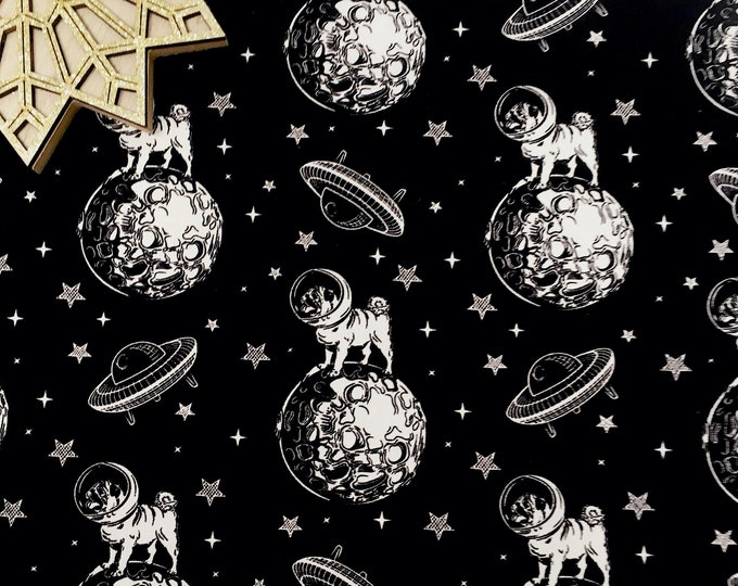 Pug lover dog printed cotton poplin - Space print cotton fabric - Fabric for dog lover by the metre