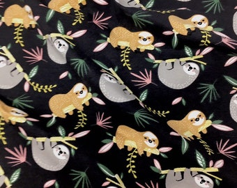 Sloth print cotton spandex jersey knit -  Animal printed fabric - Slothl print dressmaking fabric for t shirts - Sloth apparel fabric