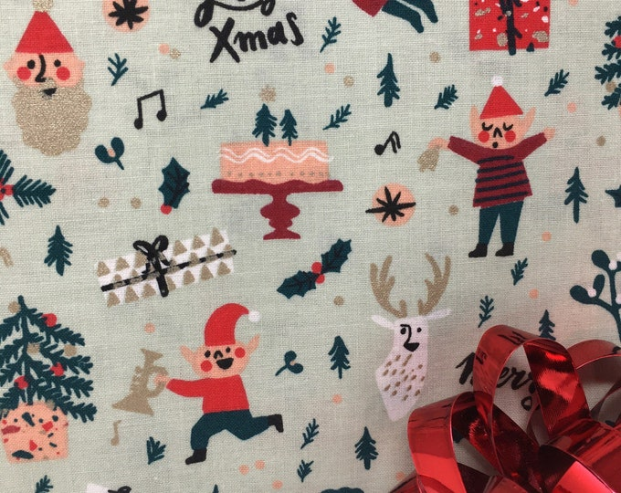 Christmas fabrc  I  Pastel Christmas fabric  I  Gold foil Christmas fabric  I  Rico design Christmas fabric