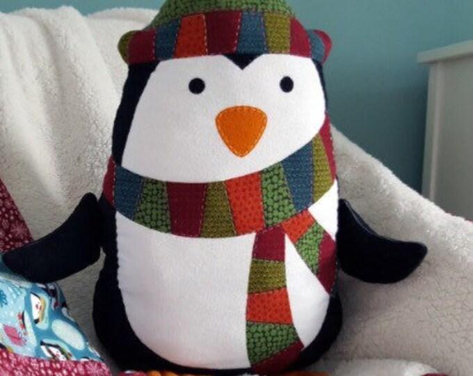 FREE SHIPPING FABRIC, Pillow panel, toy making kit, penguin cushion kit, penguin panel, kids panel, easy sewing kit, diy toy, diy sewing kit