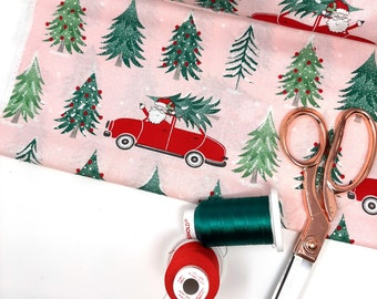 Pink Christmas fabric,   Christmas fabric by the yard,   Christmas santa fabric