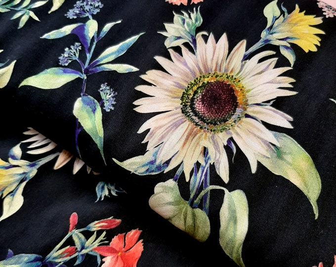 Featured listing image: Floral Viscose Fabric,     Digital print floral rayon fabric,  Botanical Dressmaking fabric by the metre