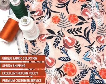 Pomegranate Orange fabric -  Christmas Dashwood Studios Quilting Cotton fabric by the yard -  Dashwood Spice Cotton fabric