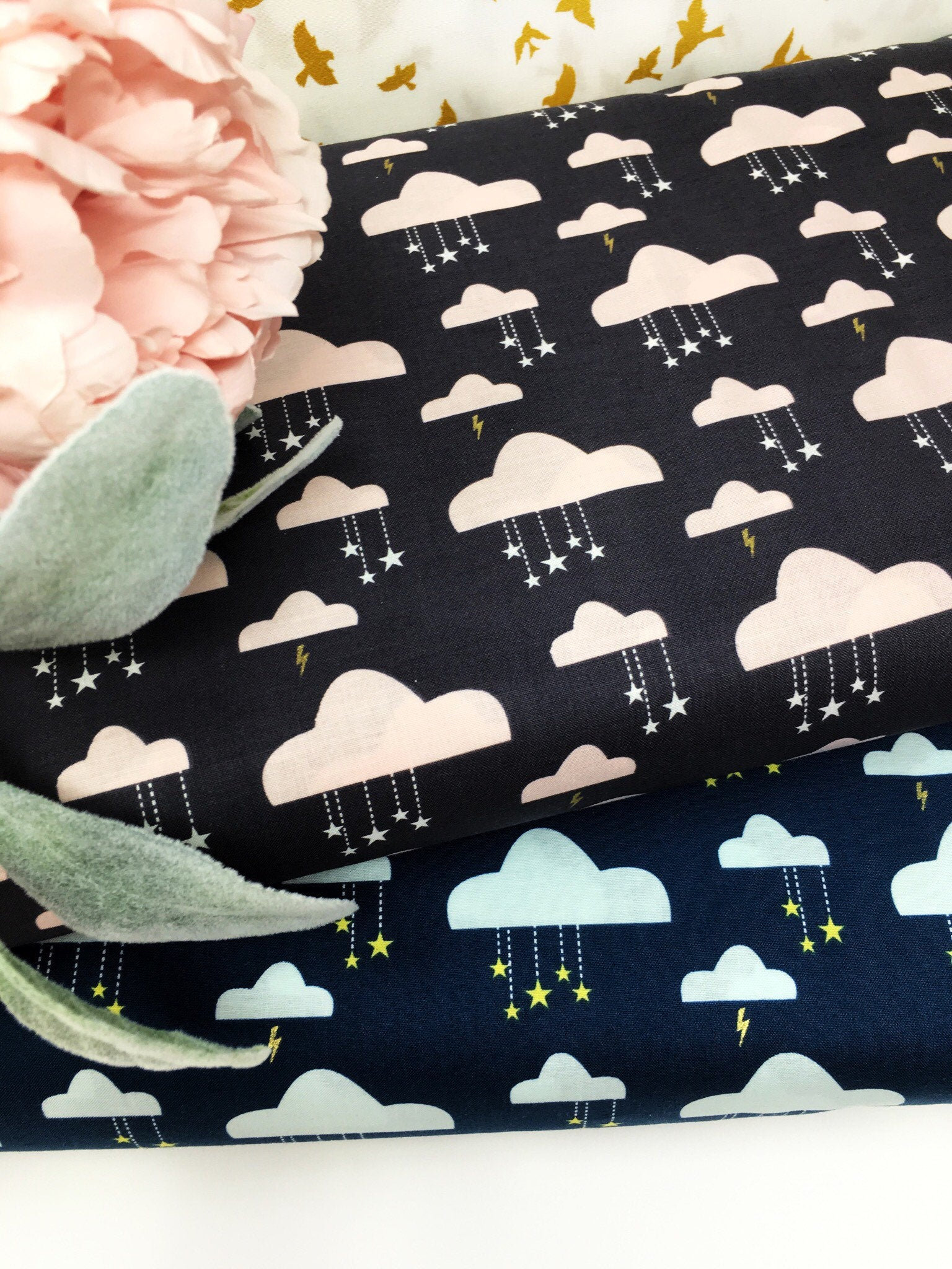 100/% Cotton Cushion Quilting Fabric Michael Miller Black Grey Tonal floral