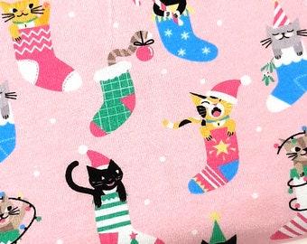 Christmas Cat Jersey fabric,  Pink Christmas fabric by the metre, Christmas Cat Fabric