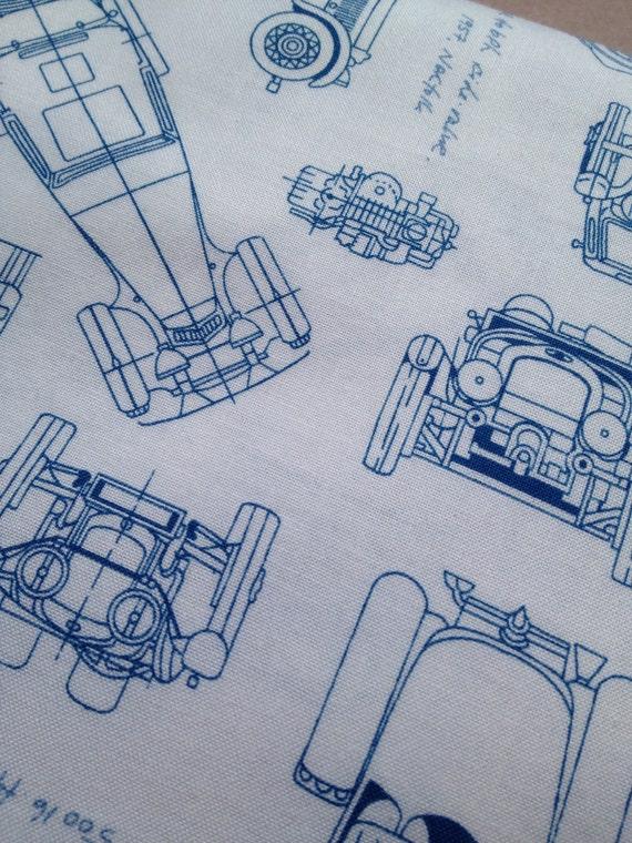 SALE ROBERT KAUFMAN Fabric vintage blueprint car print fabric from ...