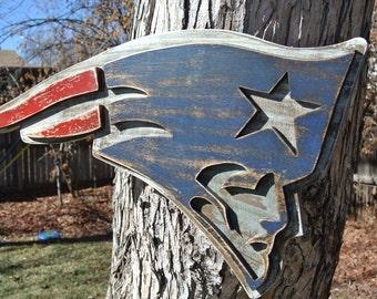 3D New England Patriots Football Logo, Tom Brady, Pats, Boston, Distressed, Weathered, Handmade, home decor, wall hanging, vintage