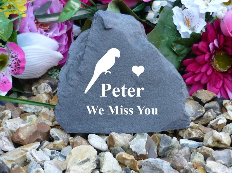Small Rock Birds Pet Memorial Stone Effect Weatherproof - Personalilsed