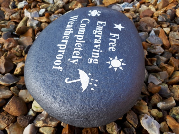 Grave Marker Personalised Rose Large Pebble Stone Effect Weatherproof