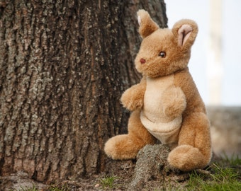 Furry plush kangaroo Stuffed animal Soft gift Recycled cuddly toy Huggy kangaroo Home decor