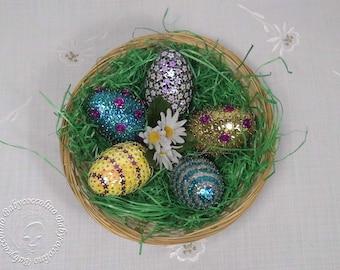 5 easter eggs, Easter decoration, Easter basket, sequin technique