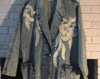 27cb92666ed Vintage Vanna White Stonewashed Jean Jacket with Beading and Embroidery