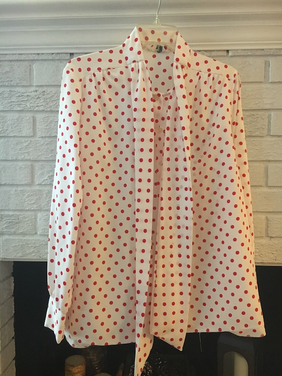 Vintage Morlove polka Dot Top Blouse with Attached