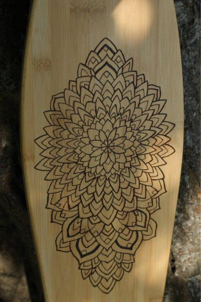 Pyrography Mandala Mini Cruiser Penny Board Skateboard Deck